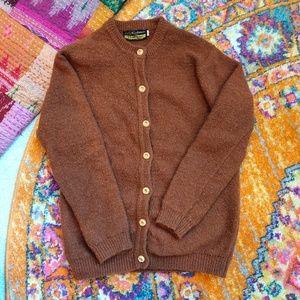 Vintage wool dark orange brown cardigan